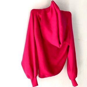 Hot pink deep cowl sweater.